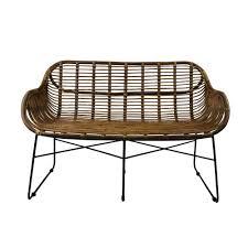 animal design rattansofa venus korb sofa braun retro 50er lounge loft esszimmer garten küche bistro balkon terrasse mit armlehne
