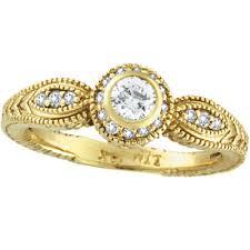 14K Yellow Gold Bezel Set 40ct Diamond Rustic Style Ring