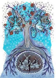 Graphic Art Showing Falling Snow And Fair Ladies On An Abstract Tree Picking Frozen Berries Little Bunnies Sitting Protected By Roots Of The