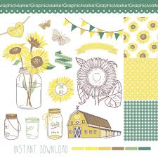 Sunflowers Mason Jars And Digital Papers