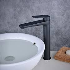 badezimmer waschtischarmatur mischbatterie einhebel wasserhahn hoch waschbecken armatur ein loch matt schwarz beelee bl6697bh