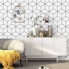 großhandel pvc tapeten moderne einfache schwarzweiß gittergeometrie wand blättchen roll wohnzimmer tv schlafzimmer nordic stil wohnkultur nmm367