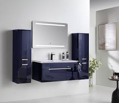 5 tlg badmöbel set 90cm königsblau led hochglanz badezimmermöbel led system