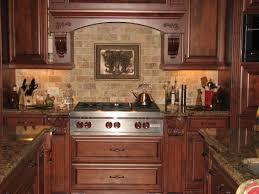 kitchen tile backsplash ideas with cherry cabinets that