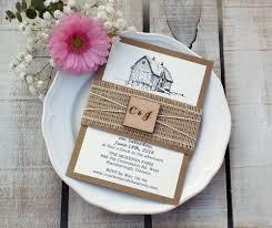 Barn Wedding Invite Farm Invitation Rustic Script Burlap