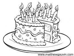 MG Children s Book Illustrations Birthday cake Line Drawing