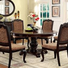 Furniture Of America Oskarre Brown Cherry Wood Veneer Round Dining Table