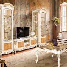 alba antike wohnwand eiche barock wohnzimmer cremweiß gold