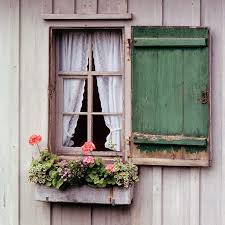 Flowerbed Lace Curtains And Wooden Window Cover