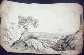 Print Ackermann Drawing Man Landscape Mountains Cliffs 129G238 Old Original
