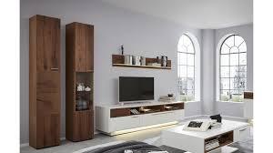 interliving wohnzimmer serie 2102 wohnkombination 510804s mit beleuchtung dunkles asteiche furnier weißer mattlack v