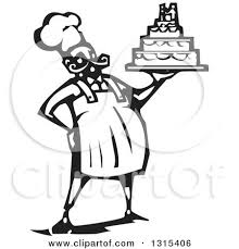 Black And White Woodcut Chubby Male Chef Baker Holding A Wedding Cake by xunantunich