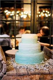 Ombre In Shades Of Blue Wedding Cake