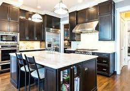 Kitchen Dark Cabinets Contemporary With Wood And White Marble Black