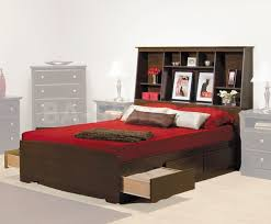 minimalist bedroom with platform storage bed bookcase headboard