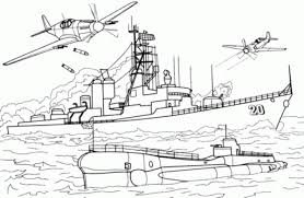 Charles F Adams Class Destroyer Is Under Attack Coloring Page