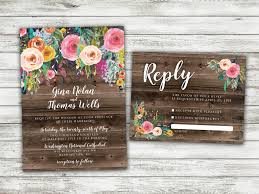 BOHO Country Wedding Invitation Rustic Floral Flowers Bohemian Shabby Chic Barn Wood