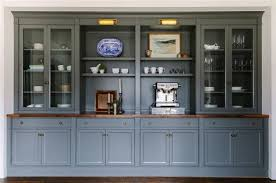 Dark Gray Built In Dining Room Ins With Brass