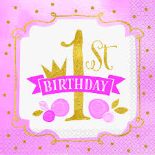 Pink 1st Birthday Napkins   Kid's Party   Party Fever   Party Fever Buy 1st Birthday Boy Decorations Kit Beautiful Colors For Girl First Gifts Baby Hallmark Watsons Party Holy City Chic Interior Landing Page Html Template Pirate Shark High Chair Decoration Amazoncom Glitter Photo Garland Pink Toys Games Mickey Mouse Decorating Turning One Flag Banner To And Gold