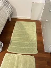 4 badezimmer matten läufer aus baumwolle gelb und grün
