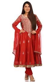 buy online coral red cotton silk kalidar suit set for women