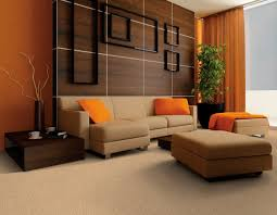 Dark Brown Leather Couch Living Room Ideas by Brown Leather Sofa With Orange Cushions Placed On The Brown Rug