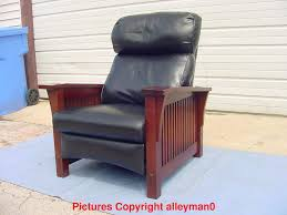 stickley mission style spindle morris leather recliner arm chair