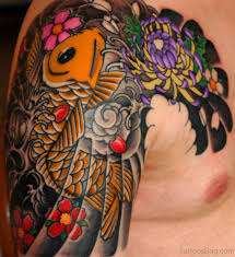 Colored Koi Fish Tattoo On Chest