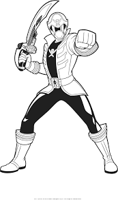 Power Rangers Holding Sword Coloring Pages Mighty Morphin Jungle Fury Printable Colouring Full Size