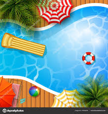 Summer Background Swimming Pool Umbrella Mattress Inflatable Ring Stock Vector