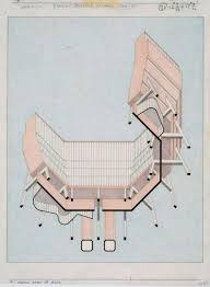 100 Architects Stirling JAMES STIRLING Axonometric Drawing Elevation Oblique