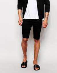 asos denim shorts in extreme super skinny fit with raw hem in