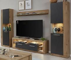 details zu wohnwand wohnzimmer schrankwand eiche wotan und grau mit lowboard breit rock 290