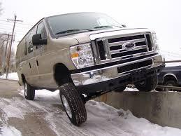 Ford 4x4 Van Driving On Curb