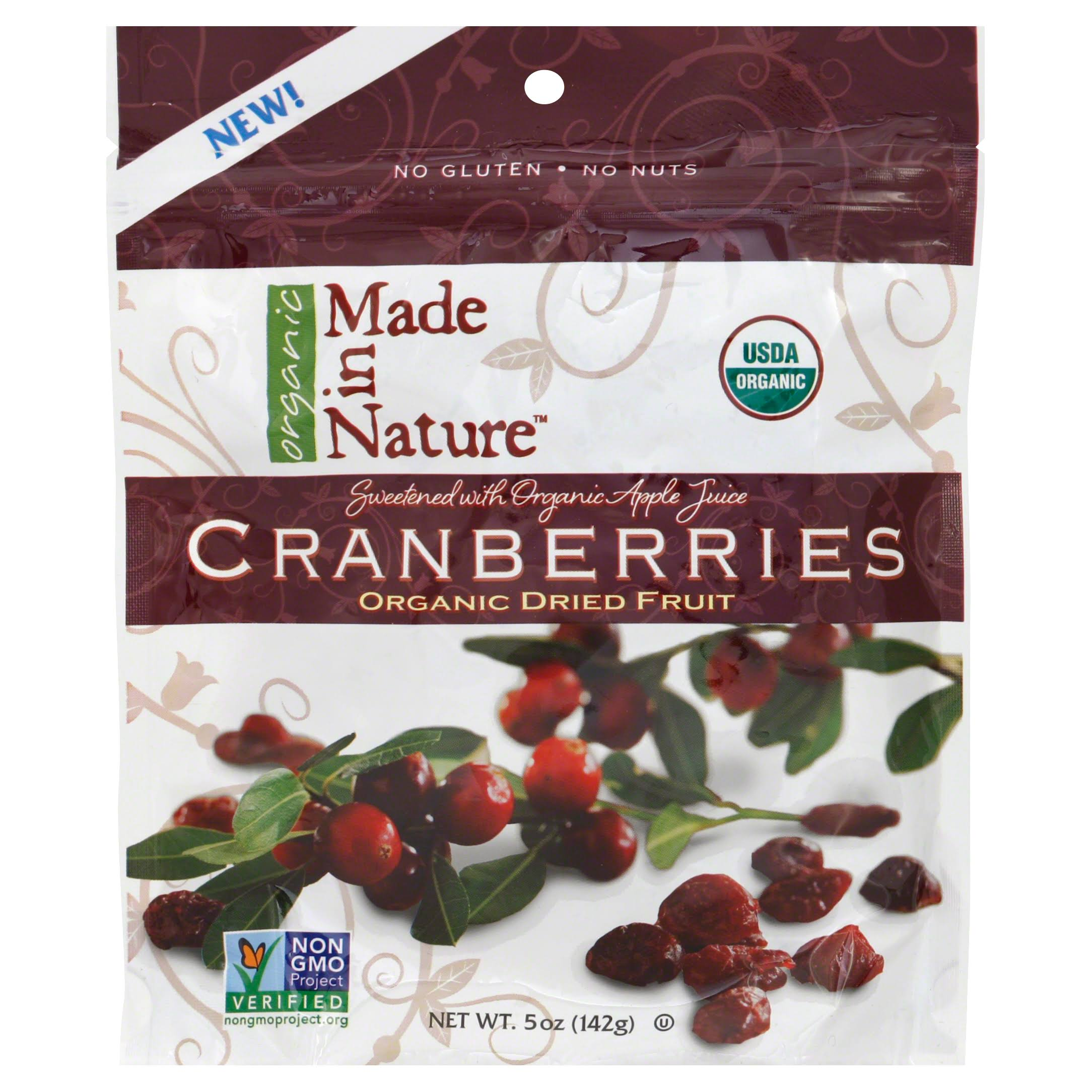 Made in Nature Organic Dried Fruit Cranberries - 142g
