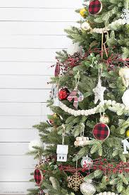 A Simple Rustic Christmas Tree Using Wool Felt Balls For Garland And Splashes Of Plaid
