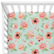 Coral And Mint Baby Bedding by Colette U0027s Coral Bumperless Baby Bedding U2013 Caden Lane