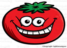 Tomato smile laugh face cartoon character clip art stock illustration by George Coghill