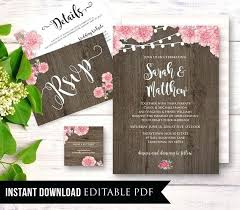 Rustic Wedding Invitations Etsy Invitation Template Instant By Bridal Shower