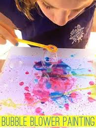 Bubble Painting With Blowers Kids Love This Activity