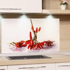 küchenrückwand glas küche motiv chili weiß spritzschutz herd