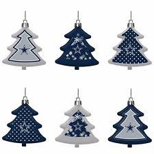 Dallas Cowboys Shatterproof TREES Holiday Christmas Tree Ornaments Set 6 Pack