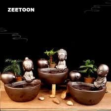 110v 240v keramik mini wasser brunnen für wohnzimmer feng shui fisch tank buddha statue wasser zyklus desktop bonsai ornament