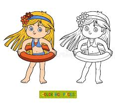 Download Coloring Book For Children Little Girl On The Beach Stock Vector