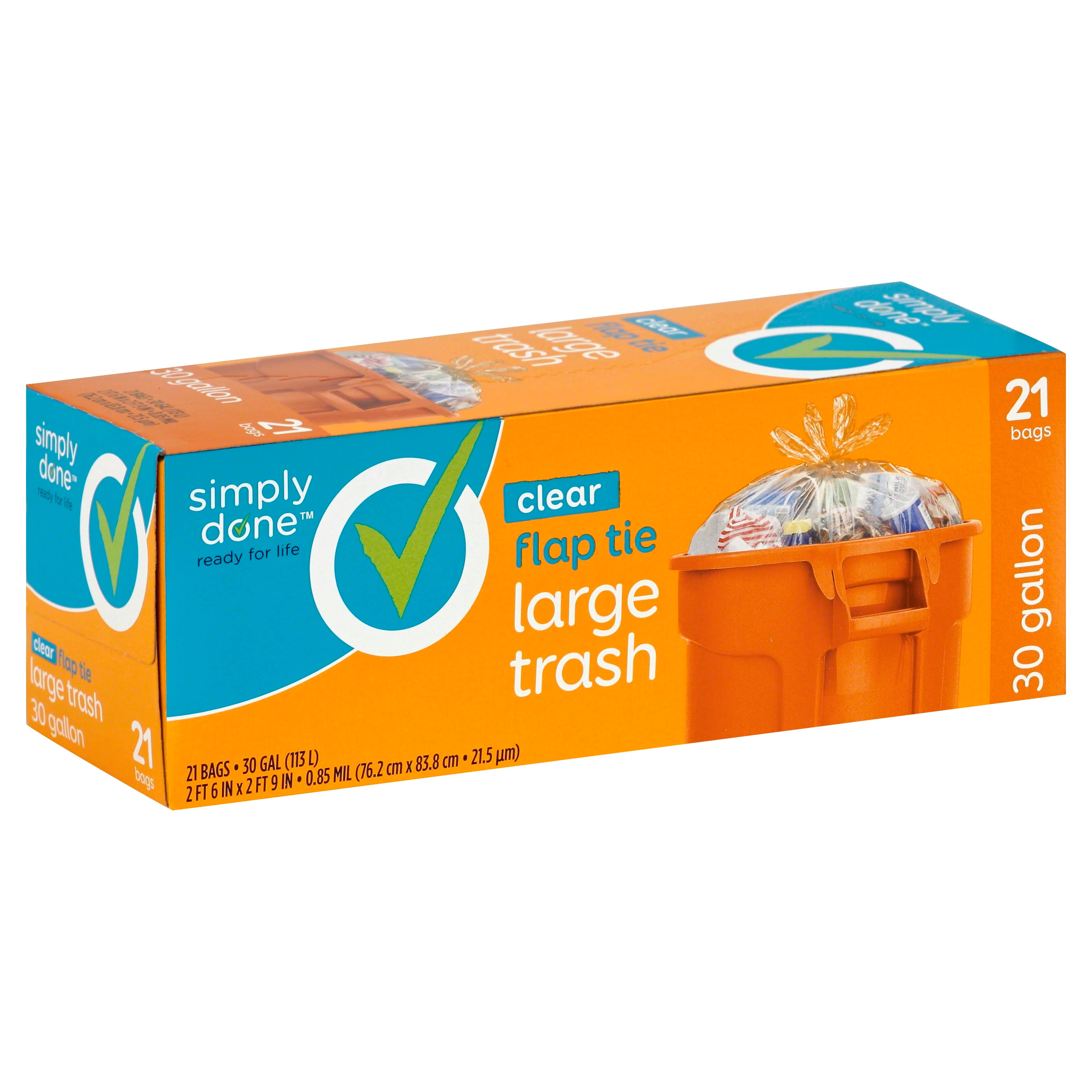 Simply Done Trash Bags, Flap Tie, Large, Clear, 30 Gallon - 21 bags