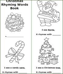 Coloring Pages Printable Christmas Kids Books Rhyming Words Mini Pdf Candy Cane Ribbon Tree