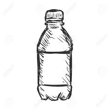 Vector Single Sketch Plastic Bottle of Water on White Background Stock Vector