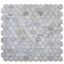 calacatta gold 3 inch hexagon mosaic tile tumbled marble from