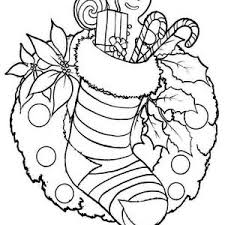 Christmas Stocking And Wreath For Decoration Coloring Page