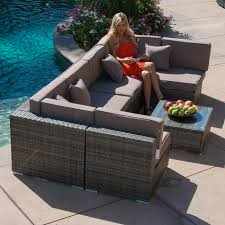Ebay Patio Furniture Sectional by 7pc Outdoor Patio Rattan Wicker Furniture Aluminum Sectional Sofa
